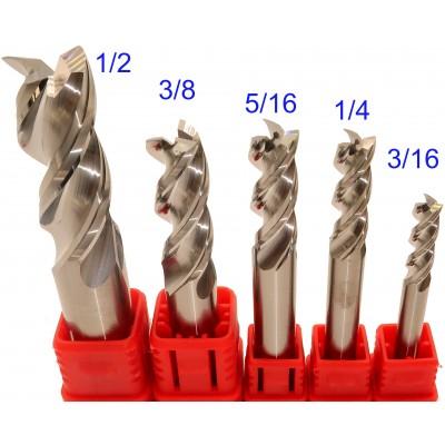 KIT 3/16, 1/4, 5/16, 3/8, 1/2 E143-2 End Mill Haute performance pour Aluminium