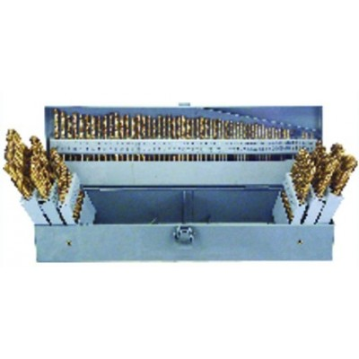 3 in 1 Combo Set (1/16-1/2 by 64ths / A-Z / 1-60) -Tin Coated -115 Pc. HSS Jobber Drill Set